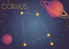 The constellation Corvus. Bright image of the constellation Corvus. Kids who are fond of astronomy will like it very much vector illustration