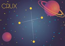 The constellation Crux. Bright image of the constellation Crux. Kids who are fond of astronomy will like it very much Stock Illustration