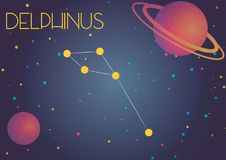 The constellation Delphinus. Bright image of the constellation Delphinus. Kids who are fond of astronomy will like it very much vector illustration
