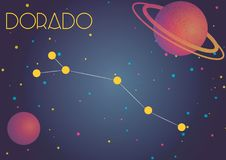 The constellation Dorado. Bright image of the constellation Dorado. Kids who are fond of astronomy will like it very much Vector Illustration