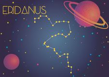 The constellation Eridanus. Bright image of the constellation Eridanus. Kids who are fond of astronomy will like it very much stock illustration