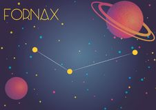 The constellation Fornax. Bright image of the constellation Fornax. Kids who are fond of astronomy will like it very much stock illustration