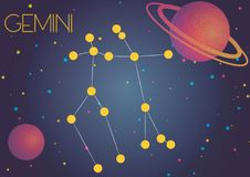 The constellation Gemini. Bright image of the constellation Gemini. Kids who are fond of astronomy will like it very much Stock Illustration