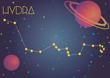 The constellation Hydra. Bright image of the constellation Hydra. Kids who are fond of astronomy will like it very much Vector Illustration