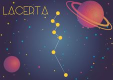 The constellation Lacerta. Bright image of the constellation Lacerta. Kids who are fond of astronomy will like it very much Vector Illustration