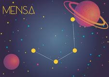 The constellation Mensa. Bright image of the constellation Mensa. Kids who are fond of astronomy will like it very much royalty free illustration