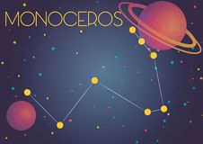 The constellation Monoceros. Bright image of the constellation Monoceros. Kids who are fond of astronomy will like it very much stock illustration