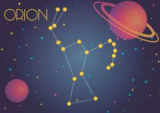 The constellation Orion. Bright image of the constellation Orion. Kids who are fond of astronomy will like it very much Stock Illustration