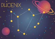 The constellation Phoenix. Bright image of the constellation Phoenix. Kids who are fond of astronomy will like it very much Stock Illustration