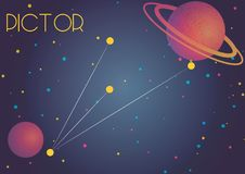 The constellation Pictor. Bright image of the constellation Pictor. Kids who are fond of astronomy will like it very much Stock Illustration