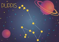 The constellation Puppis. Bright image of the constellation Puppis. Kids who are fond of astronomy will like it very much Vector Illustration