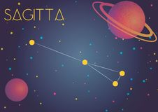 The constellation Sagitta. Bright image of the constellation Sagitta. Kids who are fond of astronomy will like it very much vector illustration