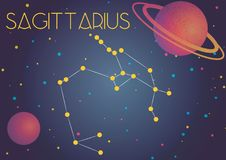 The constellation Sagittarius. Bright image of the constellation Sagittarius. Kids who are fond of astronomy will like it very much royalty free illustration
