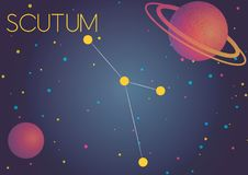 The constellation Scutum. Bright image of the constellation Scutum. Kids who are fond of astronomy will like it very much royalty free illustration