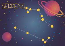 The constellation Serpens. Bright image of the constellation Serpens. Kids who are fond of astronomy will like it very much Stock Illustration