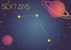 The constellation Sextans. Bright image of the constellation Sextans. Kids who are fond of astronomy will like it very much stock illustration