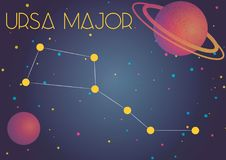 The constellation Ursa Major. Bright image of the constellation Ursa Major. Kids who are fond of astronomy will like it very much Vector Illustration