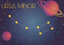 The constellation Ursa Minor. Bright image of the constellation Ursa Minor. Kids who are fond of astronomy will like it very much Royalty Free Illustration