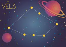 The constellation Vela. Bright image of the constellation Vela. Kids who are fond of astronomy will like it very much Royalty Free Illustration