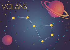 The constellation Volans. Bright image of the constellation Volans. Kids who are fond of astronomy will like it very much stock illustration