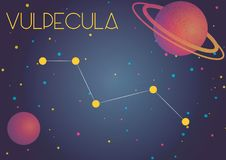 The constellation Vulpecula. Bright image of the constellation Vulpecula. Kids who are fond of astronomy will like it very much Stock Illustration