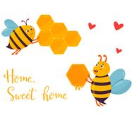 Bright image with two funny bees building beehouse. Bright image with two funny bees building the beehouse Royalty Free Stock Image