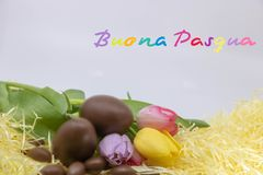 Very colorful text Buona Pasqua is Happy Easter written in  Italian for Easter. Bright images on the theme of Easter and the arrival of Spring royalty free stock images