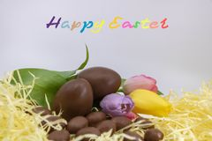 Very colorful text in English Happy Easter, for graphic resource Easter royalty free stock photos