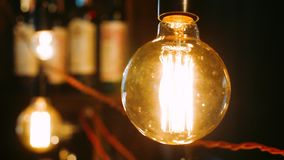 Bright incandescent bulbs hang and shine in row. Electric lights brightly shine. Lamps with blurred background. Electric decor element. Retro light bulbs stock video footage