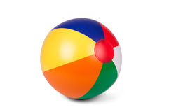 Colored inflatable beach ball. Bright inflatable ball isolated on white royalty free stock photo