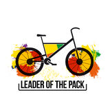 Bright inspirational quote leader of the pack. isolated vector on white background. bike image for the poster, t-shirt. Stock Photo