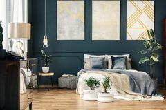 Bright interior with bed stock images