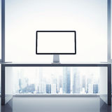 Bright interior with computer display stock photos