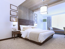 Bright interior of contemporary bedroom Stock Images