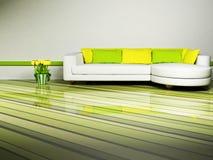 Bright interior design of living room vector illustration