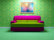Bright interior design of modern living room Stock Photos