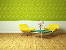 Bright interior design of modern living room vector illustration