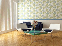 Bright interior design of modern living room stock illustration