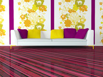 Bright Interior Design Of Modern Pink Living Room Stock Images