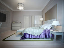 Bright interior of expensive bedroom. Bed with indigo colored blanket. 3D render Stock Images