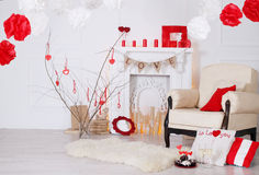 Bright interior with fireplace. Decorated with Valentines Day Royalty Free Stock Photos