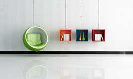 Bright interior with green ball chair Stock Photo