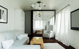 Daily, bright interior of the living room royalty free illustration