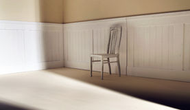 Bright interior with chair against wall stock photography