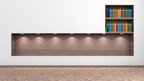 Bright interior with a shelf for books and accessories Royalty Free Stock Images
