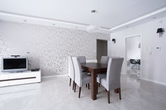 Bright interior with silver walls Stock Photography
