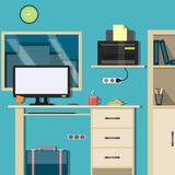 Bright Interior Workspace. In a modern style Royalty Free Stock Image