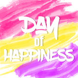 Bright International Day of Happiness background or greeting card. Holiday poster or placard template in cartoon style. Vector ill. Bright International Day of Stock Image