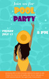 Bright invitation template for the pool party with young girl Stock Photography