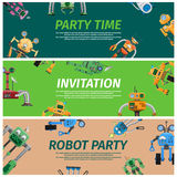 Bright Invitation to Robot Party Time Illustration Stock Images